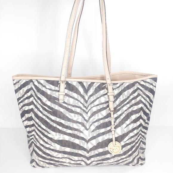 Michael Kors Purse Zebra MK Tote Laptop Bag